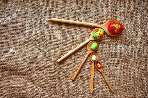 Easter, Easter Eggs, Egg, Colorful, Spring, Spoon, Red