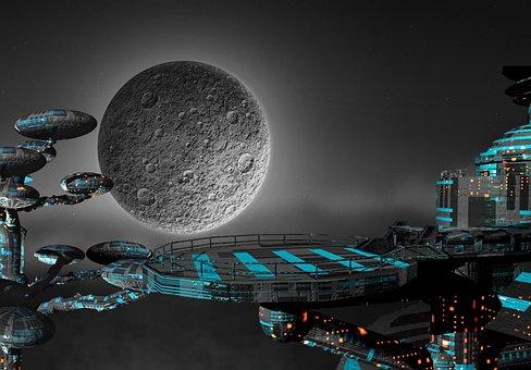 Space, Galaxi, Rough, Moon, Full Moon, Night, Star