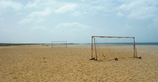 Sand, Beach, Desolate, Goal Net, Goal Mouth, Ocean, Sea