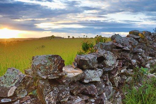 Stones, Wall, Landscape, Sunset, Sky