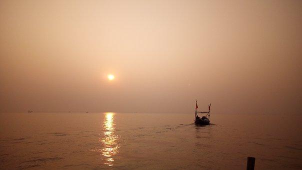 Sunrise, River, Boat, Landscape, Nature