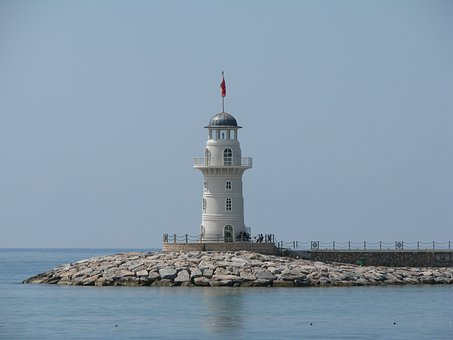 Lighthouse, Port, Sea, Water, Tower, Sky