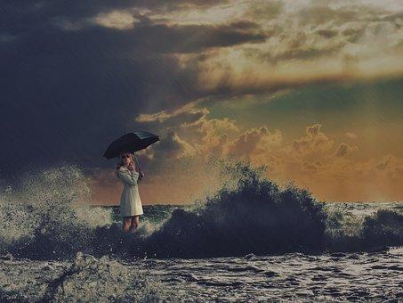 Woman, Waves, Storm, Umbrella, Rain, Wet, Water