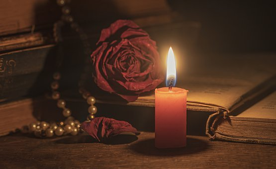 Candle, Candlelight, Old Books, Withered Rose, Chain