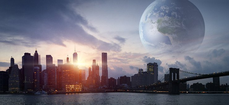 City, Planet, Futuristic, Earth, Building, Sky, World