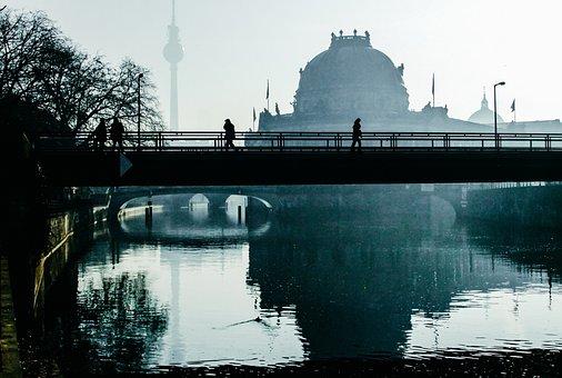 City, Berlin, Haze, Human, Bridge, River, Silhouette
