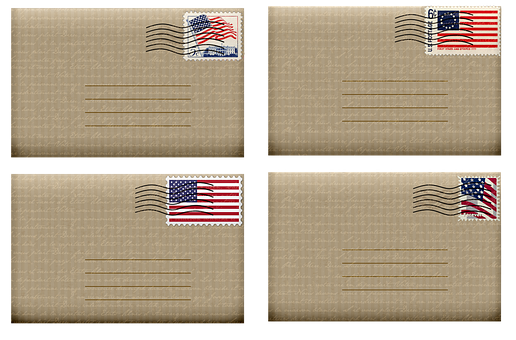Envelopes, Usa Stamps, French Handwriting, 4th Of July