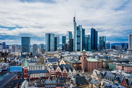 Frankfurt, Main, Skyline, Storm Clouds, Germany