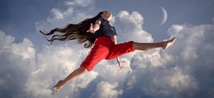 Girl, Jump, Clouds, Joy, Sky, Fun, Sport, Freedom