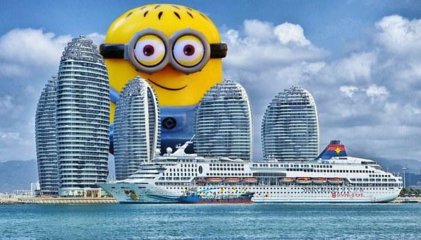 Minion, Giant, Funny, Cruise Ship, Ship, Hainan