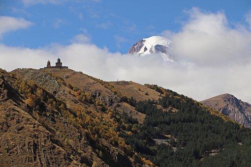 Mountain, Landscape, Nature, Georgia, Kazbek, Gergeti