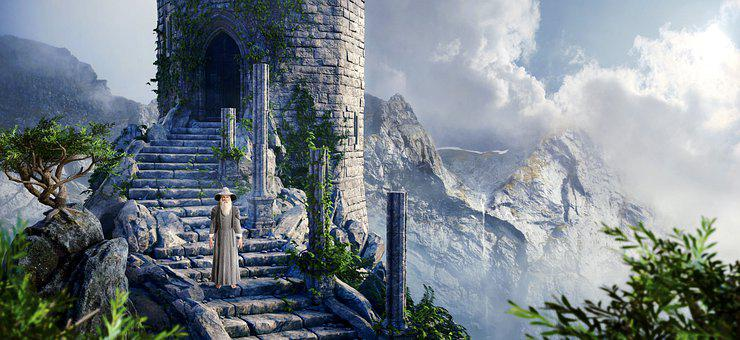 Fantasy, Mountains, Man, Old, Stairs, Tower, Clouds