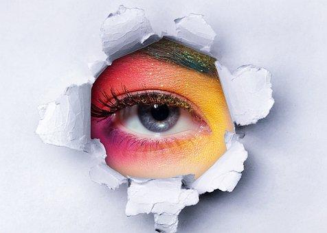 Makeup, Beauty, Eye, Model, Woman, Paper, Curious