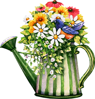 Watercolor Flowers, Floral, Pink, Tulip, Daisy, Pot