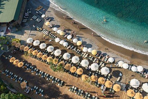 Turkey, Alania, Beach, Umbrellas, Row, Sand, Sea, Coast