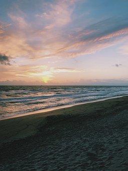 Beach, Sunrise, Sea, Ocean, Flagler, Sky, Pink, Pretty