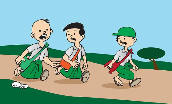 Myanmar, Burma, Young, Students, Walk, School