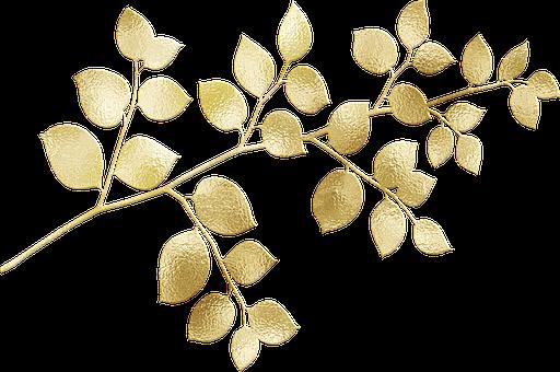 Gold Foil, Leaves, Glitter, Botanical, Nature, Summer