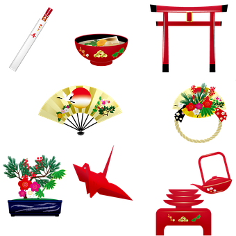 Japanese Items, Tori Gate, Miso, Chopsticks, Tea