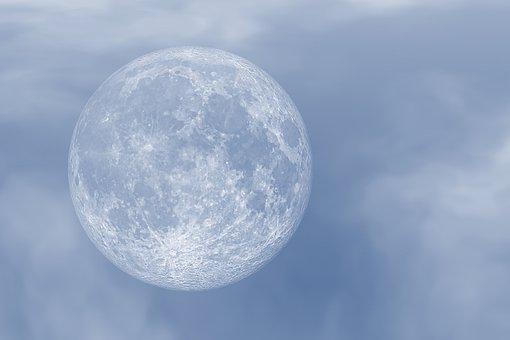 Moon, Sky, Full Moon, Clouds, The Moon, Blue Sky