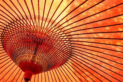 Umbrella, Oilpaper, Kyoto, Japan, Coarse, Paper, Bamboo
