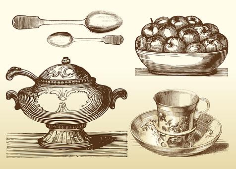 Cutlery, Tableware, Spoon, Plate, Pot, Dish, Bar Graph