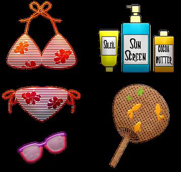 Bathing Suit, Bikini, Sunscreen, Fan, Summer, Beach