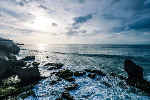 Sea, Rock, Beach, Ocean, Sunset, Coast, Rocks, Lake