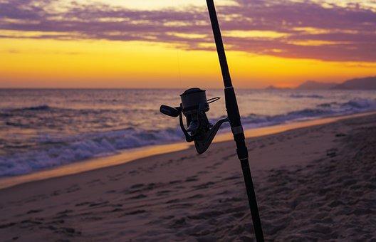 Fishing, Ocean, Sea, Water, Beach, Sand, Pole, Catch