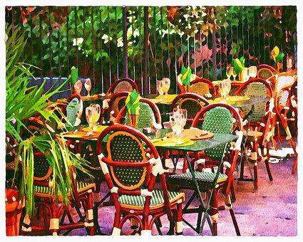 Watercolor, Paris Cafe, Bistrot, Paris, France, Europe