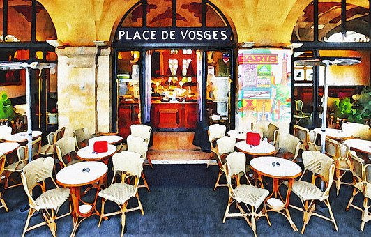 Watercolor, Paris Cafe, Bistrot, Paris, France, Europe