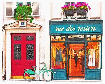 Watercolor Paris Shops, Boutiques, Paris