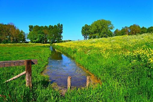 Dutch Landscape, Ditch, Waterway, Polder, Dike