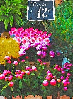 Watercolor Flower Mart, Paris Flowers, France, Europe