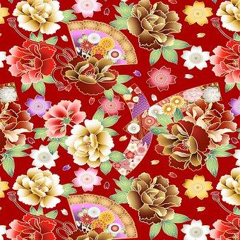 Japanese Background, Japan Pattern, Bamboo, Floral, Fan