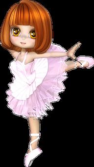 Ballerina, Ballet, Cartoon, Child, Dancer, Female, Girl