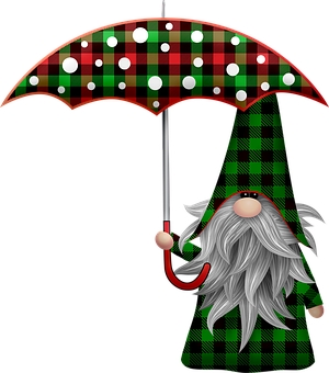 Christmas Gnome, Scandia, Bart, Buffalo Plaid, Gnome