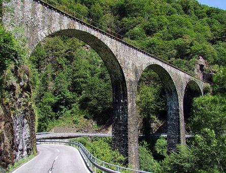 Stone Bridge, Rail, Curved, Alps, Mountains, Italy