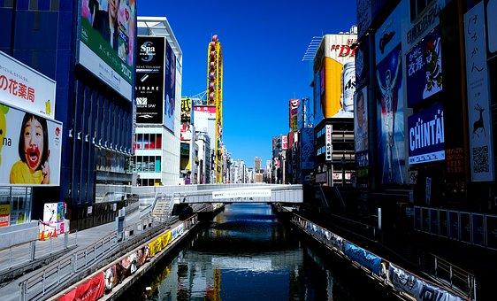 Osaka, Dotonbori, Japan, Glico, City, Landscape, Led