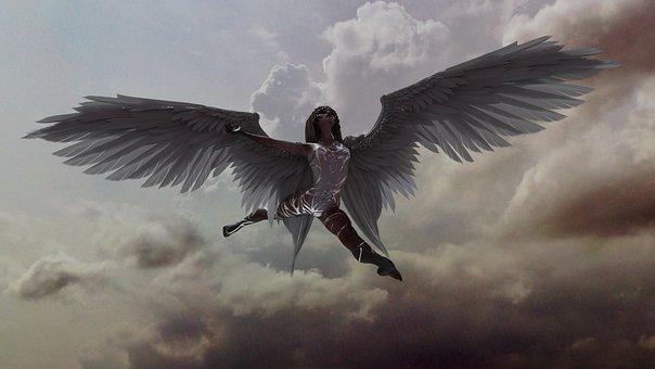 Angel, Wings, Model, Skies, Heaven, Hell