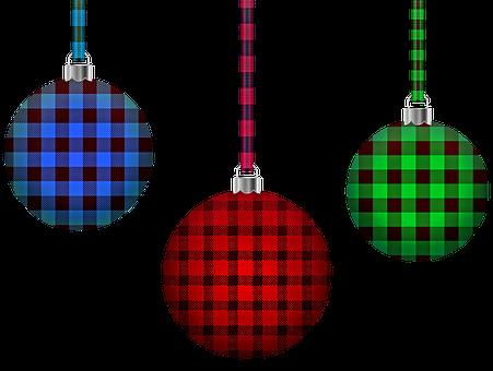 Bufffalo Plaid Christmas Balls, Christmas, Ornaments