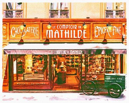 Watercolor Shops, Boutiques, Paris