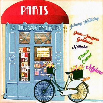Watercolor, Parisian Music Shop, Bicycle, Record Shop