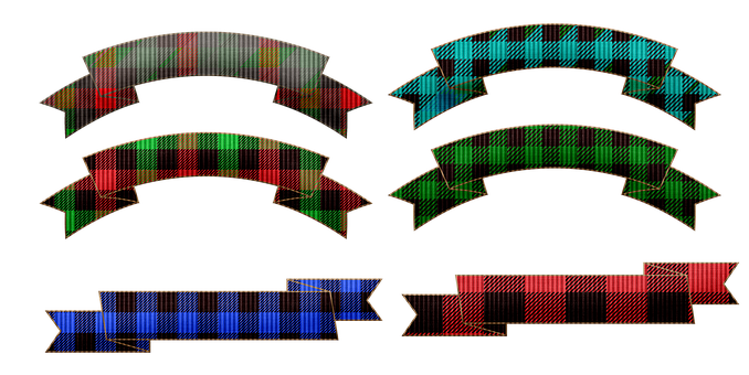 Ribbons, Tags, Labels, Colorful, Buffalo Plaid