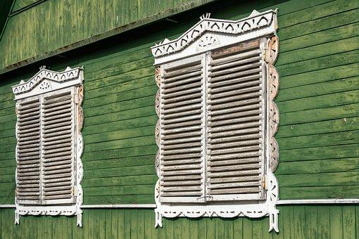 Shutters, House, Window, Wall, Gate