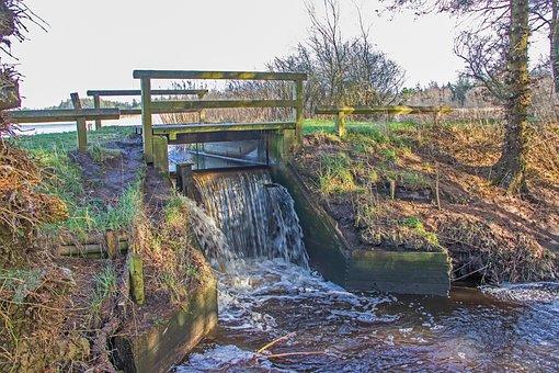 Water, Dam, Bridge, Waterfall, Landscape