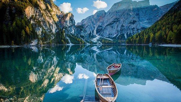 Boat, Lake, Nature, Water, Mountain, Landscape, Laguna