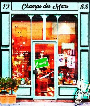 Watercolor Paris, Storefront, Watercolor Shop, Store