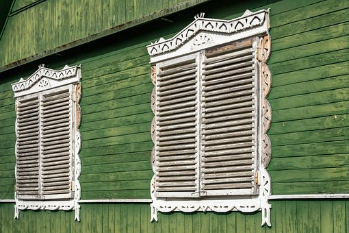 Shutters, House, Window, Wall, Gate, Closed