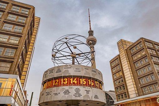 Berlin, World Clock, Alexanderplatz, Tv Tower, Capital